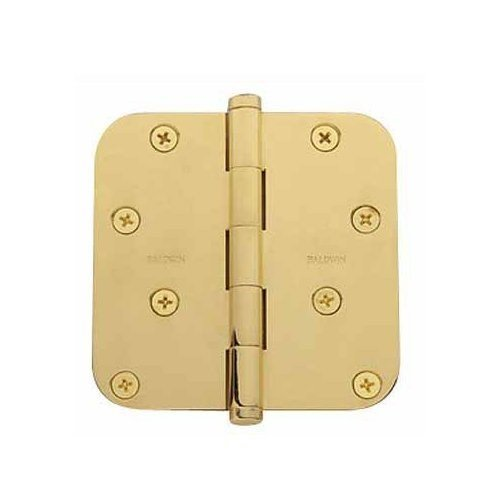 Baldwin 1140.I 4 Inch x 4 Inch Solid Brass Full Mortise Hinge with 5/8 Inch Radi, Polished (Baldwin Brass Full Mortise Hinges)