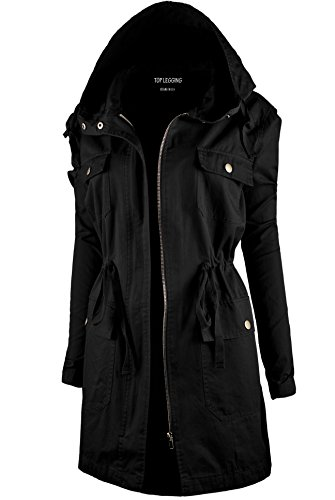TL Women's Versatile Militray Anorak Parka Hoodie jackets with Drawstring J44 BLACK M