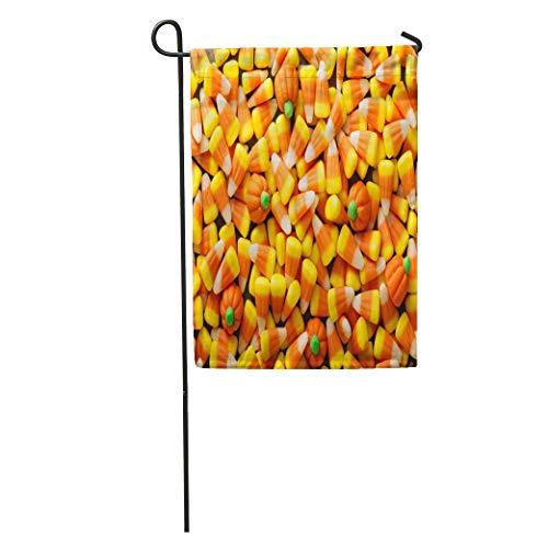 Nfuquyamluggage Garden Flag Colorful Autumn Candy Corn and Pumpkin Halloween Overhead Shot Orange Home Yard House Decor Barnner Outdoor Stand 12x18 Inches Flag -