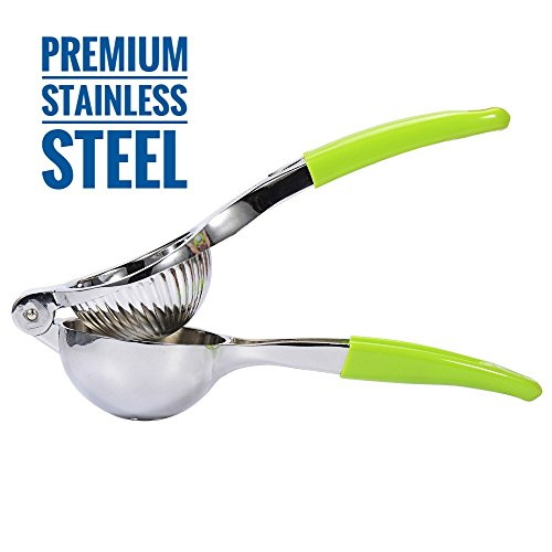 Premium Quality Stainless Steel Lemon Squeezer with Silicone Handles (Green) - Manual Citrus Press for Kitchen or Bar - Lemon Lime Fruit Juicer - Citrus Crush by Barclay's Buys