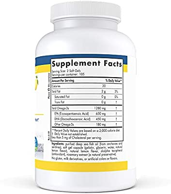 Nordic Naturals ProOmega - Fish Oil, 650 mg EPA, 450 mg DHA, High-Intensity Support for Cardiovascular, Neurological, Eye, Joint, and Immune Health*, Lemon Flavored, 210 Soft Gels