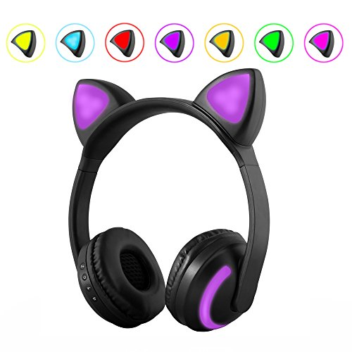 Wireless LED Cat Ear Headphones,7-color Color Changing Glowing in the Dark Headsets for iPhone 6S,Android Mobile Phone