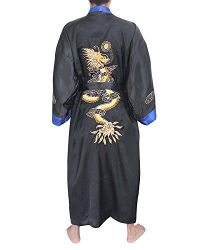 SexyTown Long Satin Lounge Bathrobe Classic Print Embroidery Kimono Robe Nightgown (Medium, Black-Blue(Reversible))
