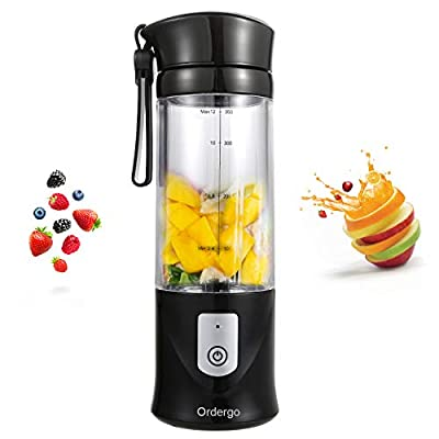 Portable Blender, Ordergo USB Juicer Cup, Fruit, Smoothie, Baby Food Mixing Machine with Powerful Motor, 2x2000mAh High Capacity Batteries
