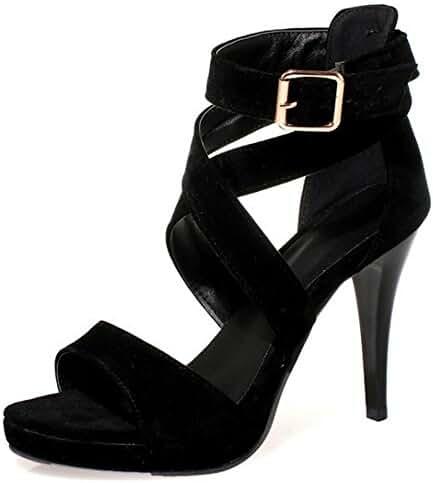 COOLCEPT Women Sexy Stiletto Sandals Pumps Strappy Ladies Dress Heels Shoes 6 Colors Size US2-10.5