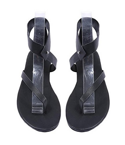 Holiday Summer Heel Cross Roman Black Open Sandals Flat Toe Womens Buckle Shoes Walking Strap Shoes Evedaily 0Pv7qw
