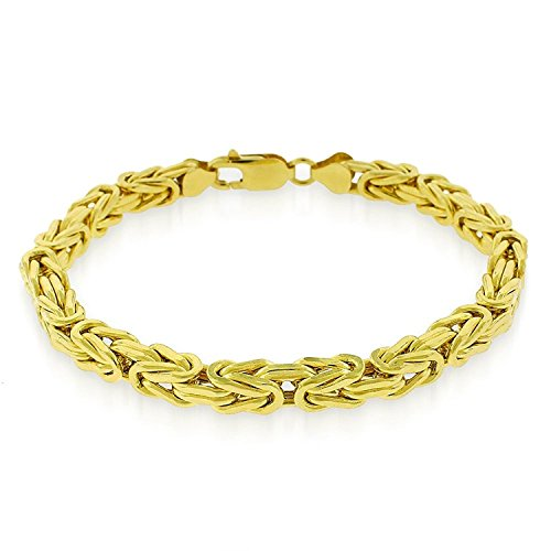 (925 Sterling Silver with yellow gold plating 6mm Hollow Byzantine Box Link Chain Necklace or bracelet- Available in 7.5