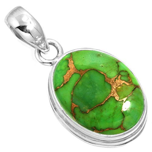 925 Sterling Silver Women Jewelry Copper Green Turquoise Pendant
