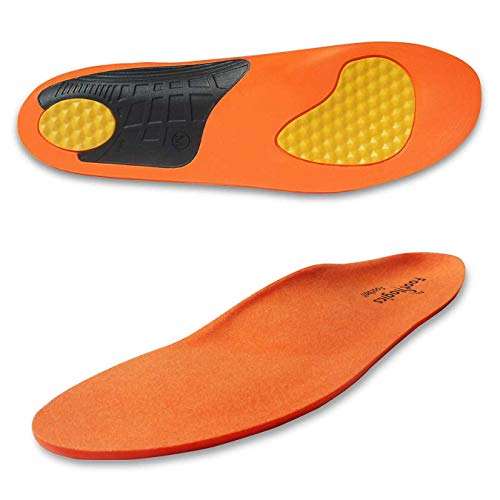 Footlogics Full-Length Sports Orthotic Shoe Insoles with Arch Support for Heel Pain, Ball of Foot Pain (Metatarsalgia), Flat Feet - Soccer & Football, Pair, S
