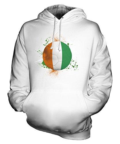 - CandyMix Unisex Ivory Coast Football Splatter Mens/Womens Hoodie, Size Medium, Color White