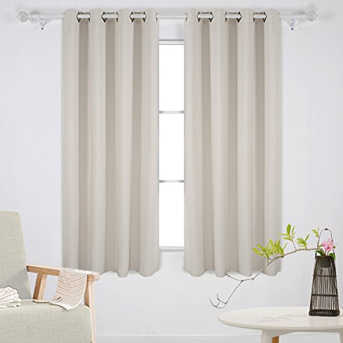 Deconovo Grommet Top Blackout Curtains Thermal Insulated Window Curtains  Room Darkening Curtains For Living Room 52W X 63L Inch Light Beige 1 Pair