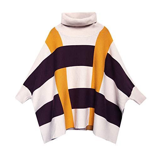 Cape Collo Colore Pipistrello Sciallato Yellow Pullover Plaid Caldo Cappotto Alto Inverno Mantello Poncho Autunno Camicia Corrispondenza Maglione Liulife nZwq0785T