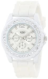 XOXO Women's XO8040 Rhinestone Accent White Silicone Strap Watch