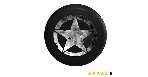 Spare Tire Cover Oscar Mike Military Star Dark Smoke Silver for SUV or RV
