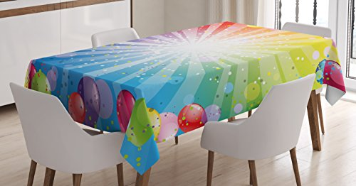 Ambesonne Birthday Decorations Tablecloth, Festive Striped Backdrop with Balloons Dots Confetti Rain Celebration, Dining Room Kitchen Rectangular Table Cover, 60 W X 84 L Inches, Blue -