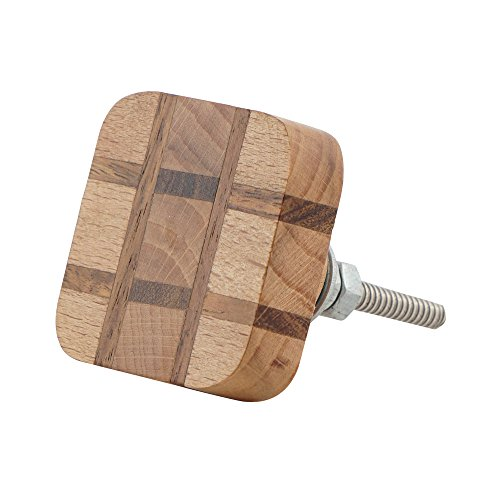 (Set of 4 Square Wooden Knobs - Checkered Cabinet Pulls for Cabinets, Dressers and Drawers - Decorative Drawer Knobs for Kitchen, Bathroom, Bed Room, and Living Room by Artisanal Creations)