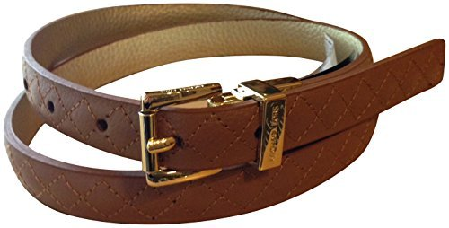 Michael Kors Reversible Women's Quilted Genuine Leather Belt Brown Gold (medium)