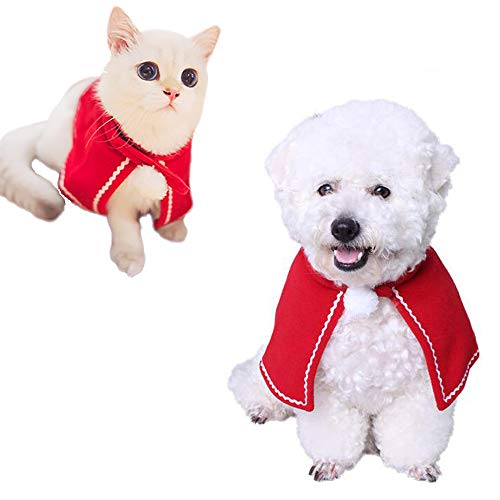 Kalolary Cat Santa Hat, Animal Christmas Costume Red Poncho Cape Cat Dog Costumes Warm Cape Pet Clothes Holiday Halloween -