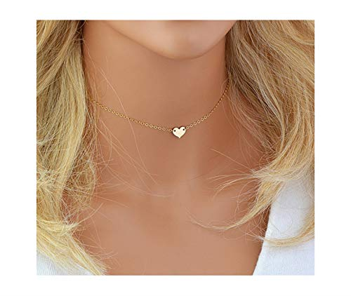 Fremttly Hand Made Necklace Simple 14K Gold Fill/Silver Plated Delicate Dainty Star and Bead Chain Chokers Necklace Thin Heart Pendant Necklace for Womens-Ne-S Heart