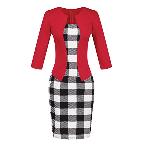 's Plaid Patchwork Pencil Skirts Formal Working Dress with Three Quarter Sleeve.Plus Size 2L 3L (S, Red(92)) ()