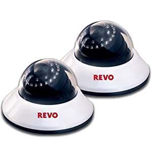 Revo Sale on Dome Surveillance Camera (2-Pack) - 600TVL,80Ft Night Vision,Built in Microphone,Fixed lens -Home Security Camera System