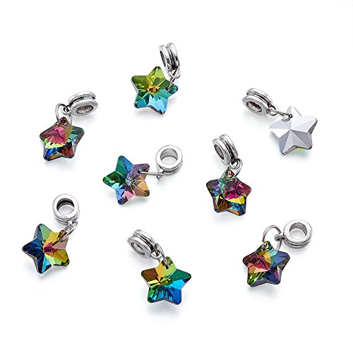 Kissitty 50-Piece Electroplated European Glass Dangle Star Beads Colorful 1.02