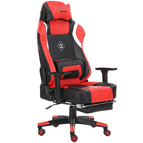 41QPgGiGcPL - GreenForest Gaming Chair Ergonomic Computer Office Chair PU Leather Thick Padded Hihg Back Desk Chair with Headrest Footrest and Lumbar Pillow, Red