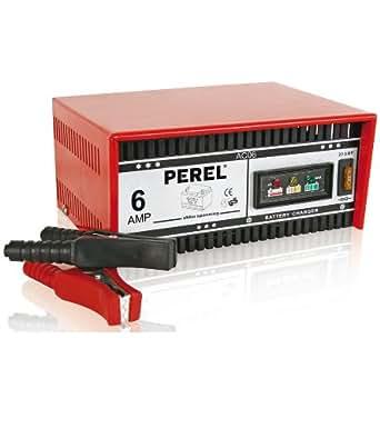 Perel AC06Cargador para 12V baterías de plomo y ácido, 230mm x 175mm X 115mm Dimensiones