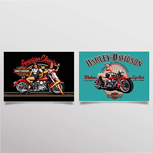 (Harley Davidson Vintage Sign Prints Set (2)- 8 x10