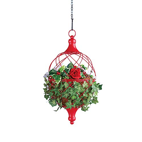 Circular Weave Hanging Metal Plant Holders in Red with Chain Clip, Small