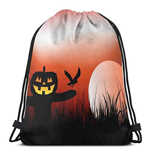 Taslilye Halloween Scarecrow Background Vector Image Sports Pumping Rope Bag Is Suitable For Men And Women Outdoor Travel ()