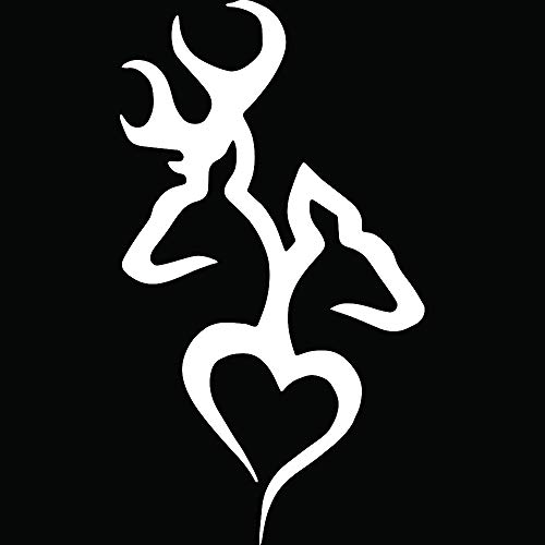 (ANGDEST Browning Buck Deer Love Hunting (White) (Set of 2) Premium Waterproof Vinyl Decal Stickers for Laptop MacBook Phone Tablet Helmet Car Window Bumper Mug Tuber Cup Door Wall Decoration)