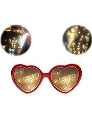 SJLHP 3D-bril hart vuurwerk buigingsbril speciaal effect licht voor muziek buitenshuis feest/bar/vuurwerk, rood