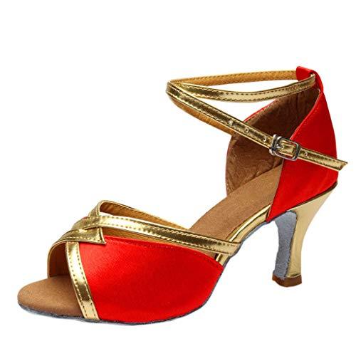 Alto Zapatos Tacón Latino De Baile Para Rojo Baile medio Luckycat zapatos Latinos Mujer Satén dW0Z5n