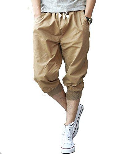 Tonwhar Mens Fashion Capris Shorts Elastic Waist Drawstring 3/4 Length Pants (28, Khaki) (Drawstring Shorts Capri)