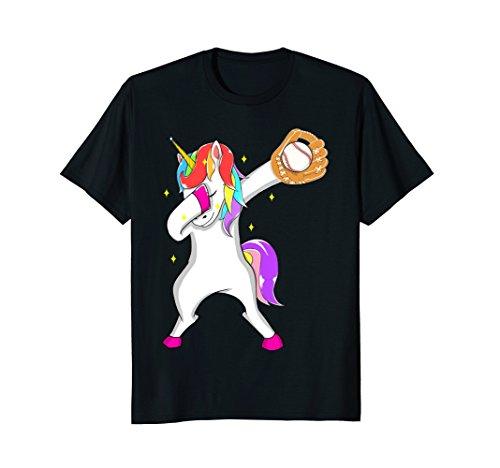 Softball Dabbing Unicorn Baseball Girls Teens T-Shirt Women