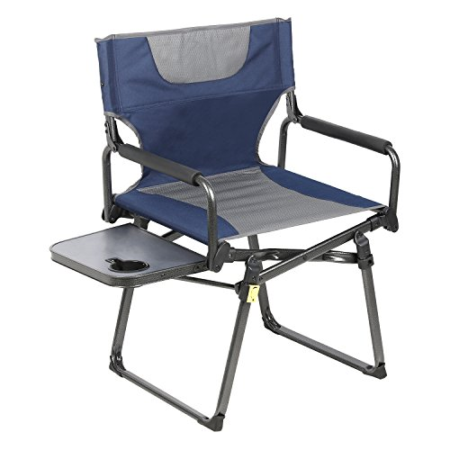 PORTAL Compact Folding Directors Chair Heavy Duty Folding Chair Padded Full Back with Carry Strap,Side Table and Armrest,Supports 300 lbs