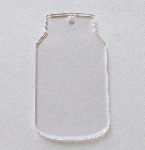 10pcs/lot Blank Clear Acrylic Laser cut Mason Jar, Plexiglass Blank Keychain Necklace DIY Accessory 1/8 Thickness (3inch)