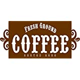 Apollo's Products - Fresh Ground COFFEE - Served Here - Coffee (Brown) Colored Wall Vinyl Decal Sign - 14 X 7 Inches