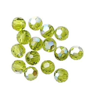 (24 pcs 8mm Swarovski Crystal Round Beads 5000, Olivine AB, SW-5000)