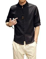 Plaid&Plain Men's Linen Cotton Mandarin Collar Roll-Up Sleeve Frog-Button Shirt Black L
