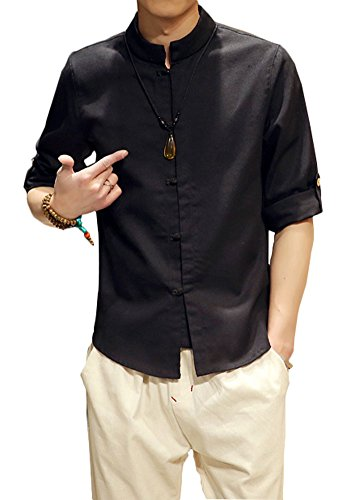 Plaid&Plain Men's Linen Cotton Mandarin Collar Roll-Up Sleeve Frog-Button Shirt Black M - Mandarin Collar