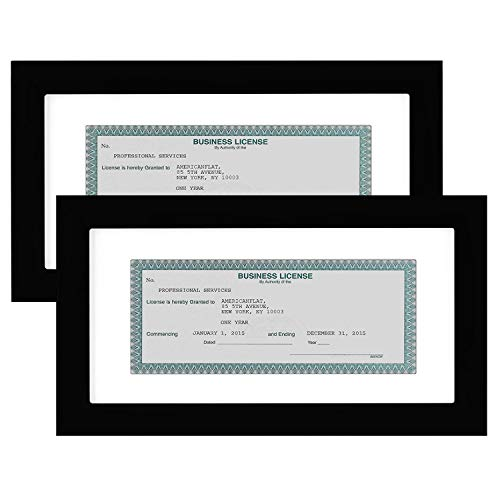 Americanflat 2 Pack Business License Frames | Displays 3.5x8 Inch Licenses with Mat or 5x10 Inch Without Mat. Shatter-Resistant Glass. Hanging Hardware Included! from Americanflat