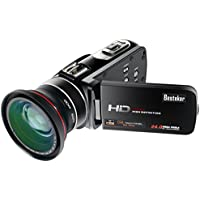 Camcorder, Besteker FHD 1080p 30 FPS Max.24.0 MP with WIFI and Support External Microphone Digital Camera Camcorders with External 72mm Wide Angle Lens