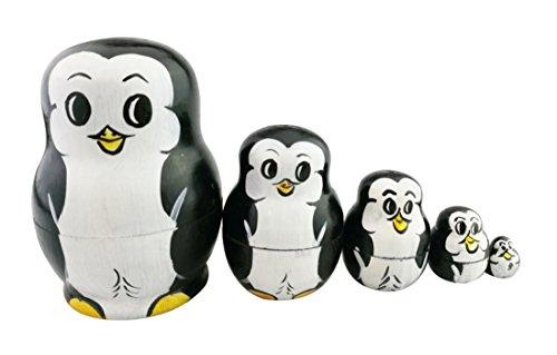 Set of 5 Cutie Handmade Mini Penguin Bear Baby Nesting Dolls Matryoshka Anmal Russian Stacking Dolls Popular Kids Girl Gifts Toy