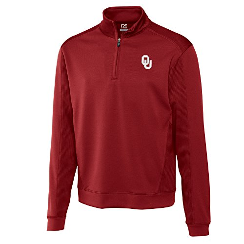 Long Oklahoma Embroidered Sleeve (Cutter & Buck NCAA Oklahoma Sooners Men's CB Dry Tec Edge Half Zip Tee, X-Large, Cardinal Red)