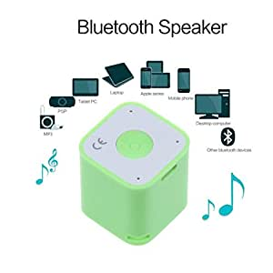 Portable Mini Wireless Bluetooth Speaker Music Player Camera Remote Shutter For Smartphones, Support Bluetooth Chat, Mobile Anti-losit (Green)
