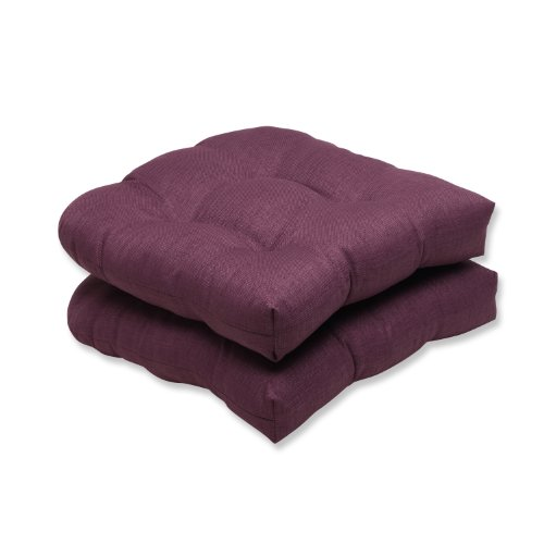 Pillow Perfect Outdoor Rave Vineyard Wicker Seat Cushion, Set of 2, Purple