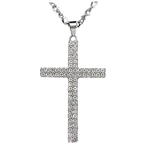 Pendant Rhinestone (Silove Big Cross Necklace for Women Men Rhinestone Pendant Long Sweater Necklace)