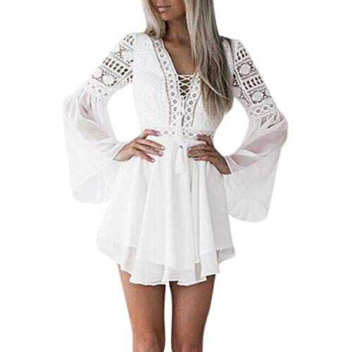 (FAPIZI Womens Summer Vintage V-Neck Tassel Lace Dress Bell Sleeve Elegent Short Skater Beach Vacation Party Dresses White)